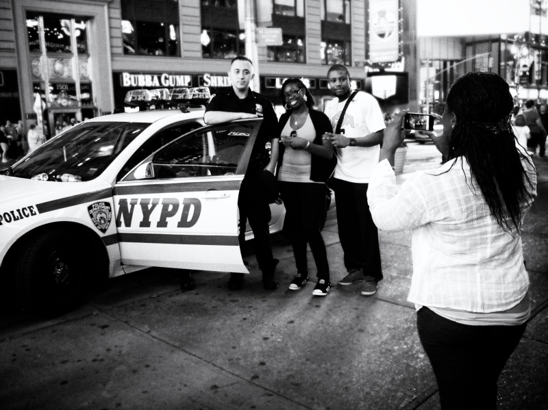 NYPD Cop in Times Square with Tourists
