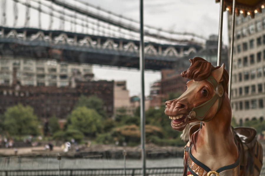 Detail of Jane's Carousel in Brooklyn, NY