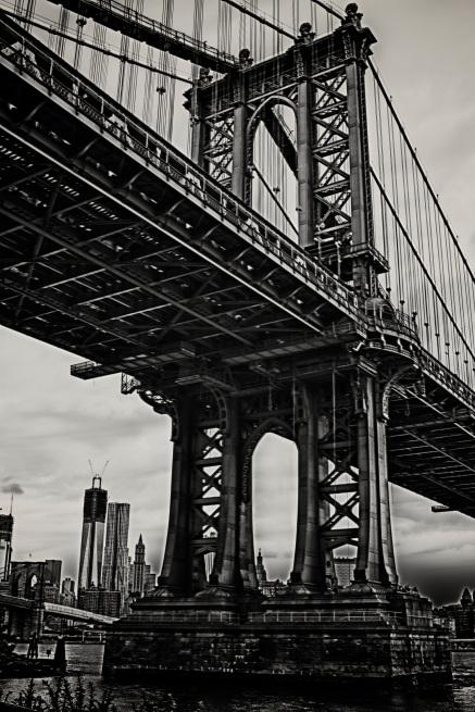 Williamsburg Bridge Tower with Manhattan Skyline