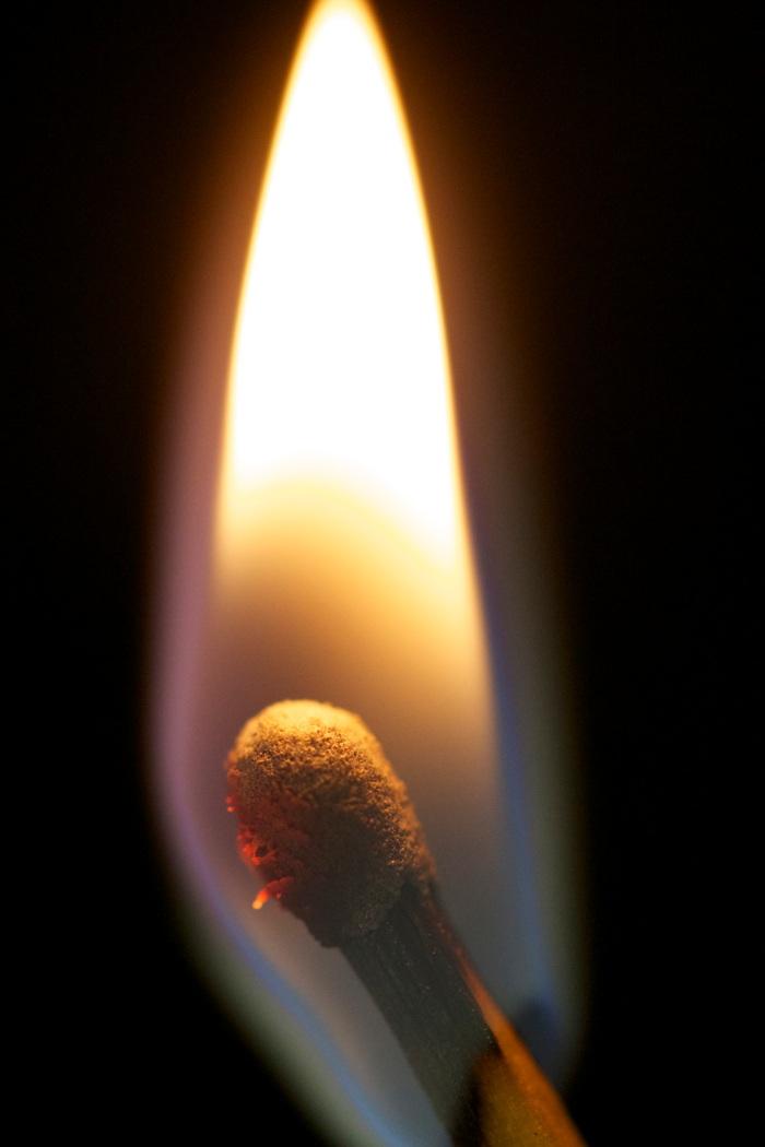 Match burning brightly