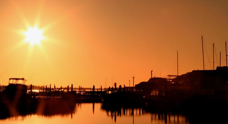 Sunset over Clinton Marina