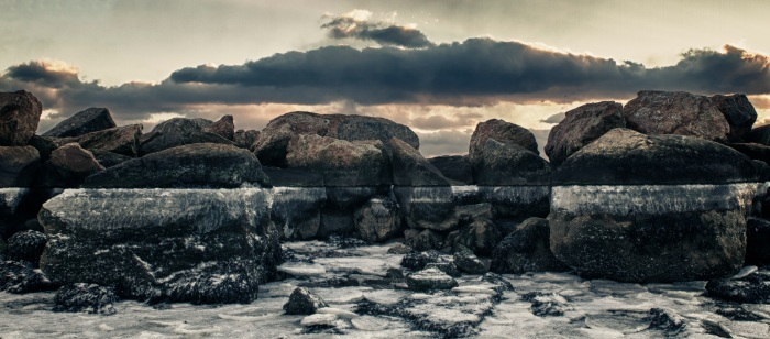 Frozen Beach Rocks