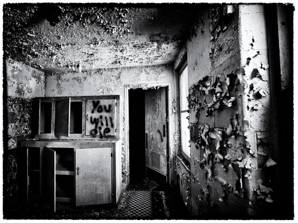 Old Sanatorium Room in black and white
