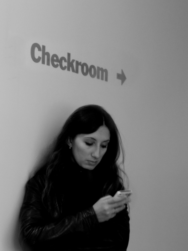 Woman checking email