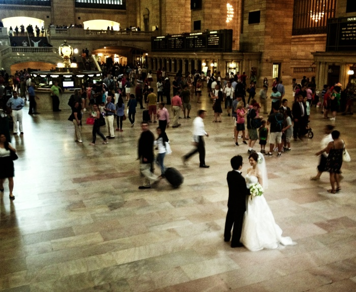 Newlyweds in Grand Central Terminal