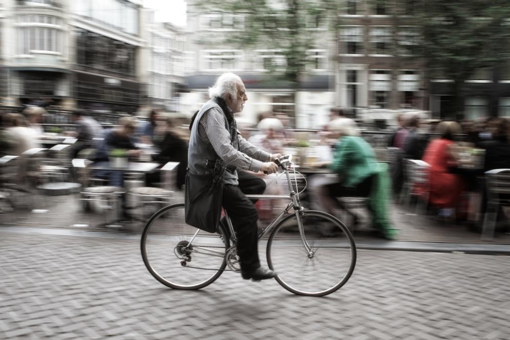 Bike rider in evening