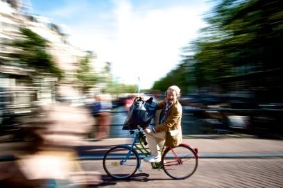 Joyous bike rider