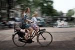 Girl and young girlbicyclists