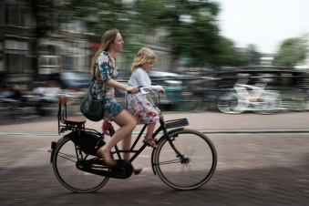 Girl and young girl bicyclists