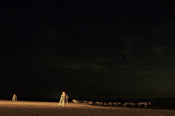 Life guard chairs under the stars