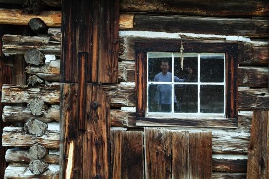 Self portrait with barn