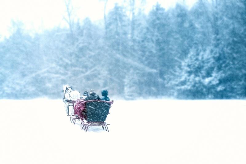 Sleigh ride through heavy snow in Vermont