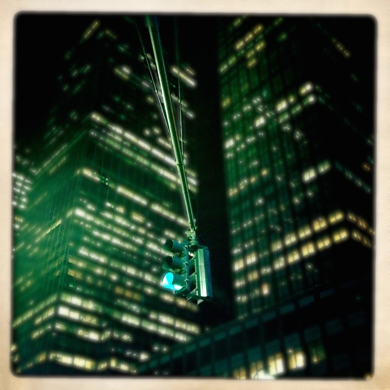 Green traffic light in Manhattan