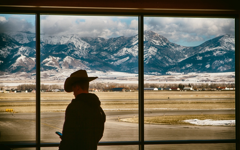 cowboy in airport