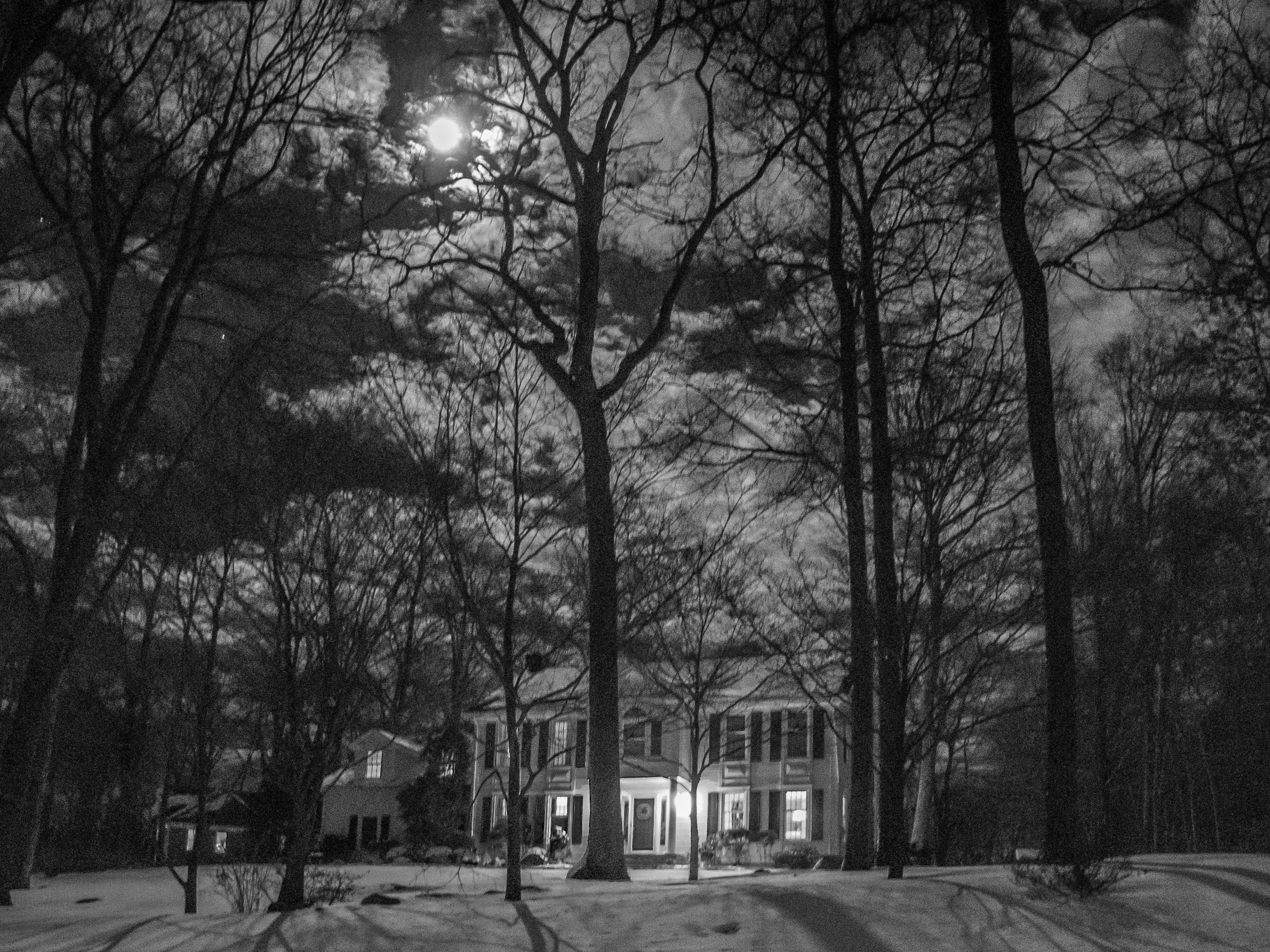 moon over snowy woods with house