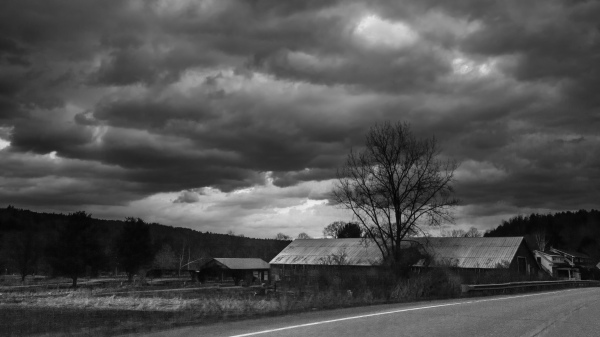 barn in stormy weather
