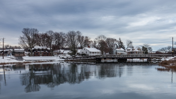 clinton harbor in snow