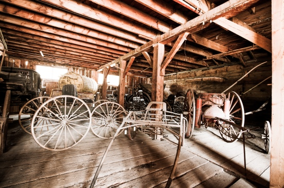 old wagons in garage