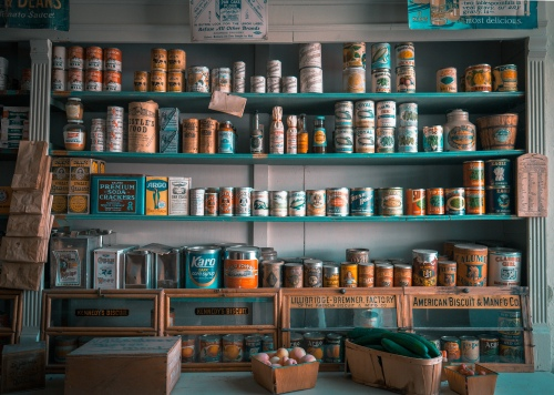 wall of tinned goods