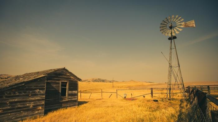 Farm windmill in Montana