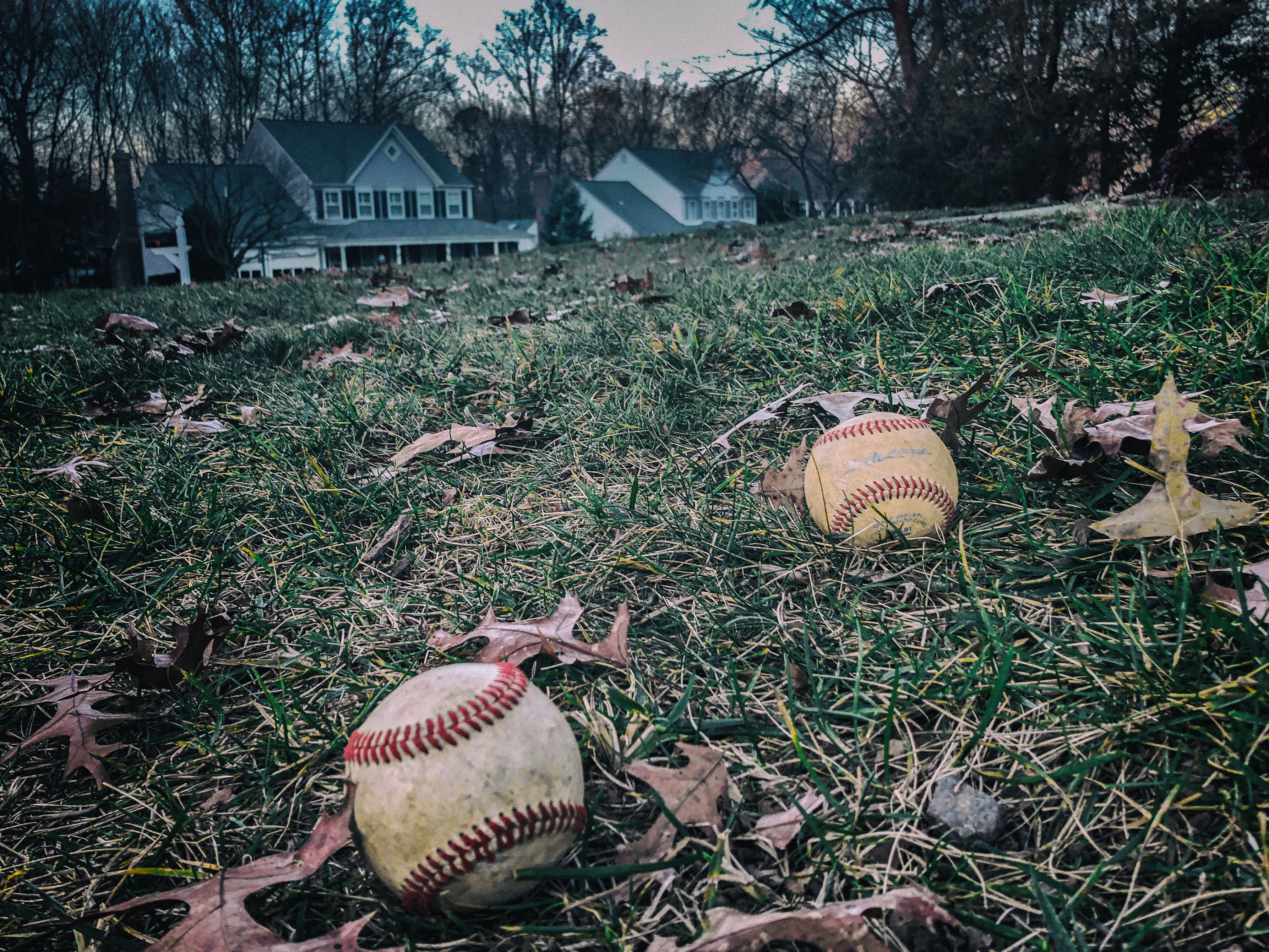 baseballs on lawn