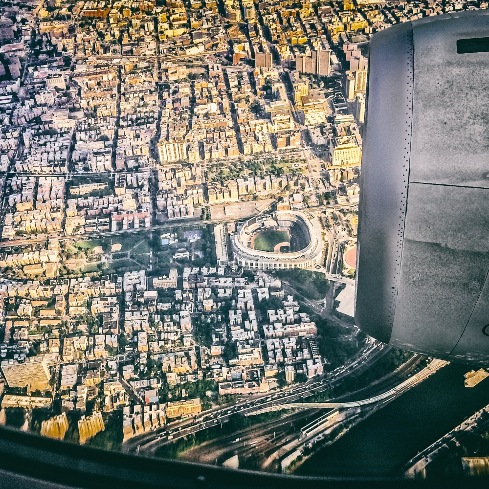 Yankee stadium seen from airplane