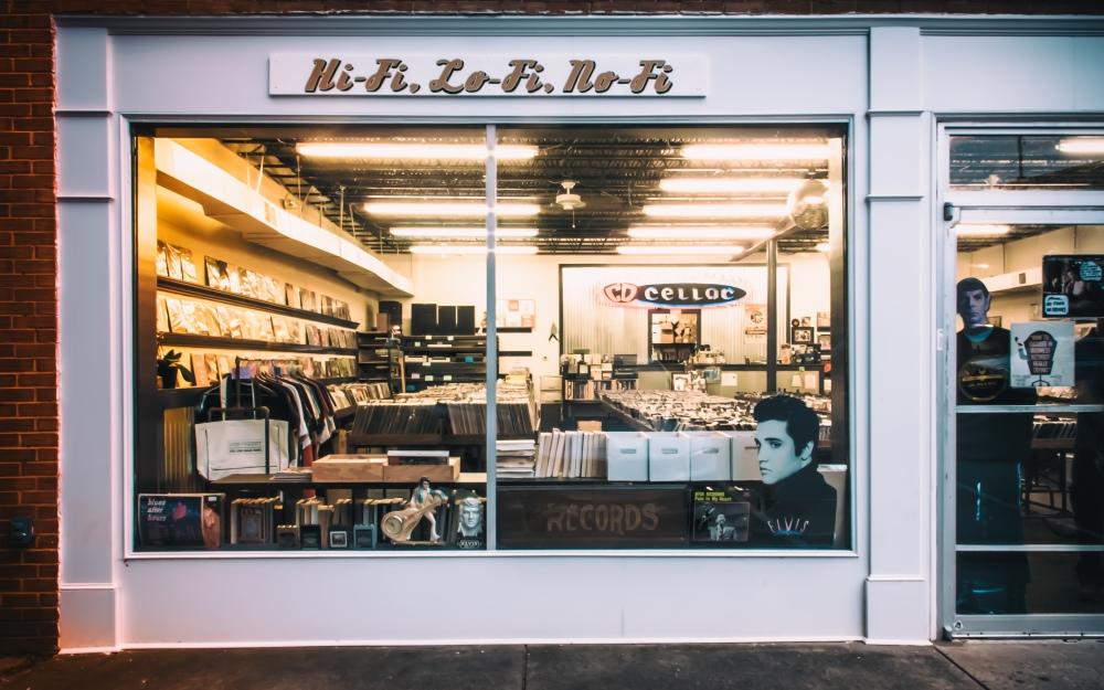 vintage vinyl record store