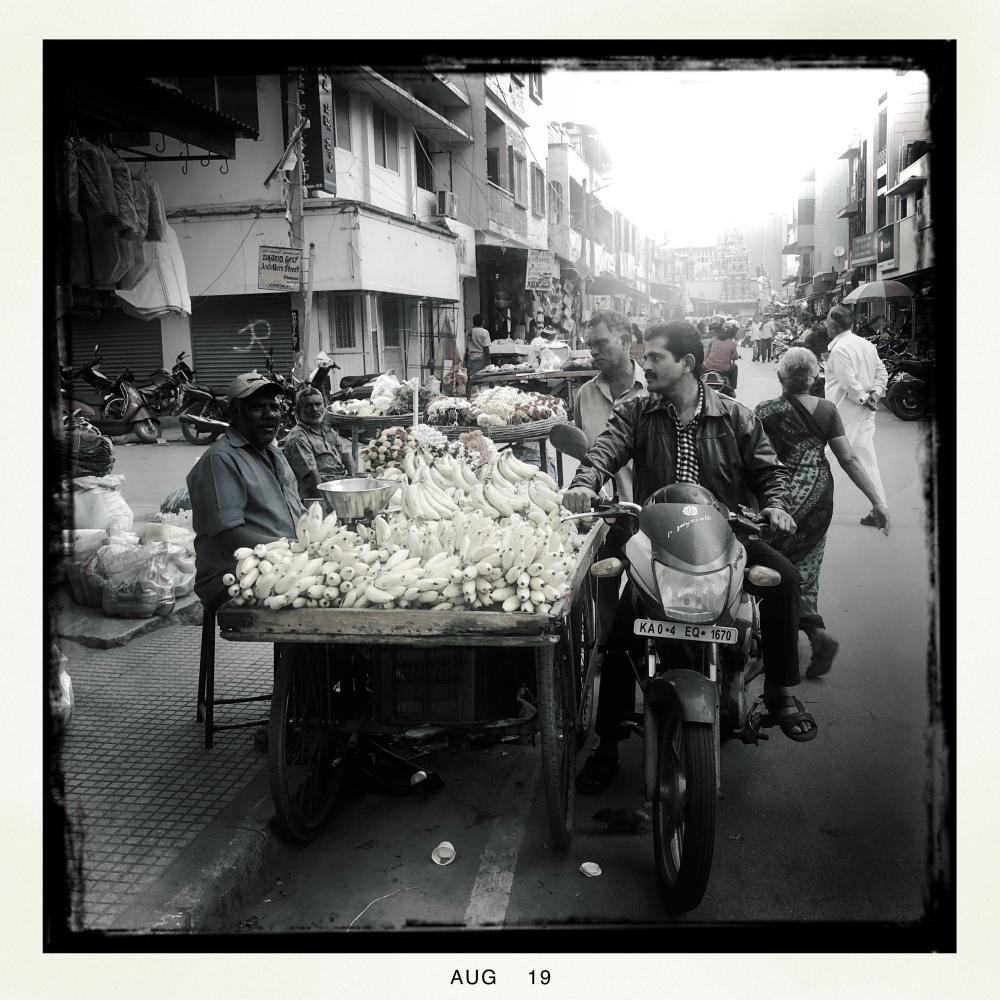 Banana cart in Indian market