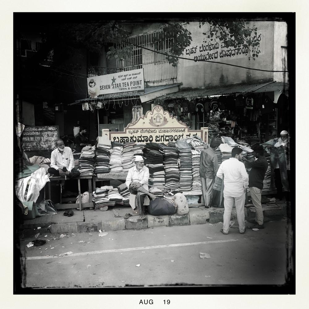 Silk vendor in Indian market