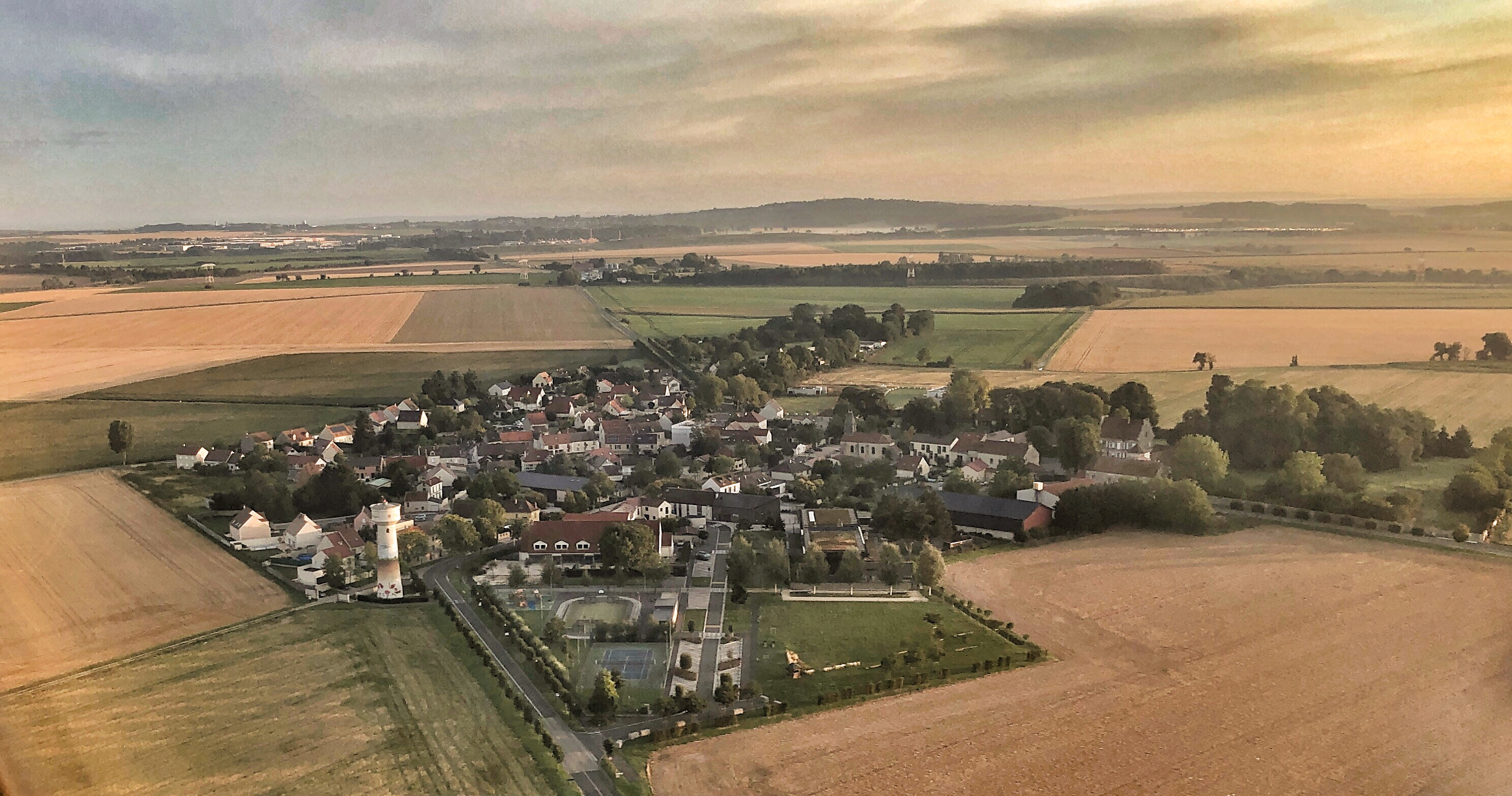 French village in the country side, seen from above